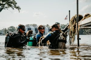 Scuba divers line up alongside a dock each with a hand full of lake weeds.